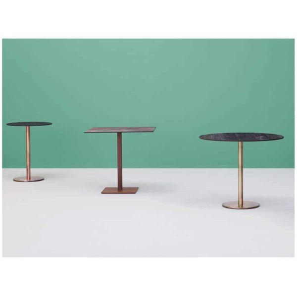 Inox Brass Copper and Sandblast Tablebases DeFrae Contract Furniture Range