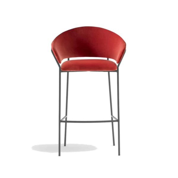 Jazz Bar stool with brass tubing Pedrali available from DeFrae Contract Furniture Red