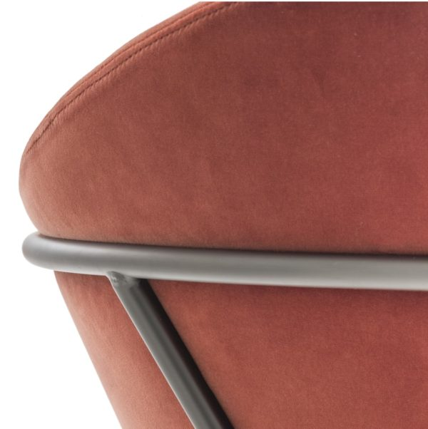 Jazz Bar stool with brass tubing Pedrali available from DeFrae Contract Furniture Red Close Up