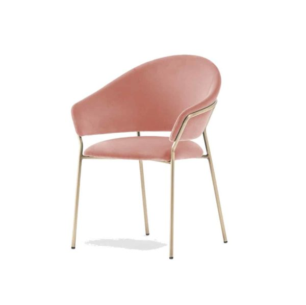 Jazz Chair with brass tubing Pedrali at DeFrae Contract Furniture Pink 2