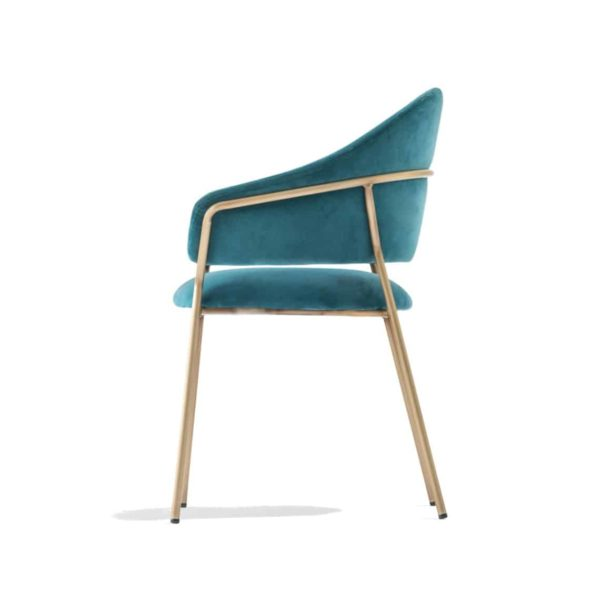 Jazz Chair with brass tubing Pedrali at DeFrae Contract Furniture blue