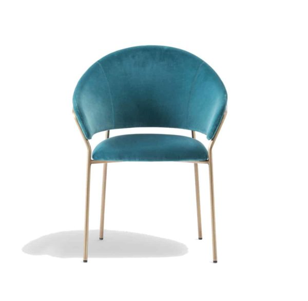 Jazz Chair with brass tubing Pedrali at DeFrae Contract Furniture blue front view