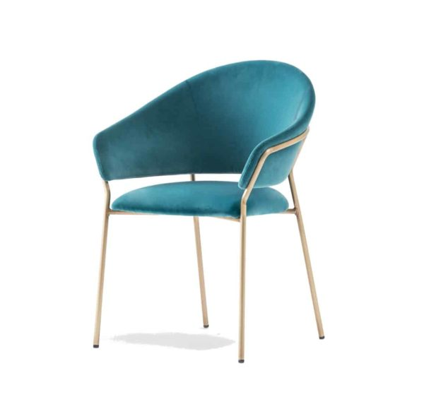 Jazz Chair with brass tubing Pedrali at DeFrae Contract Furniture blue hero