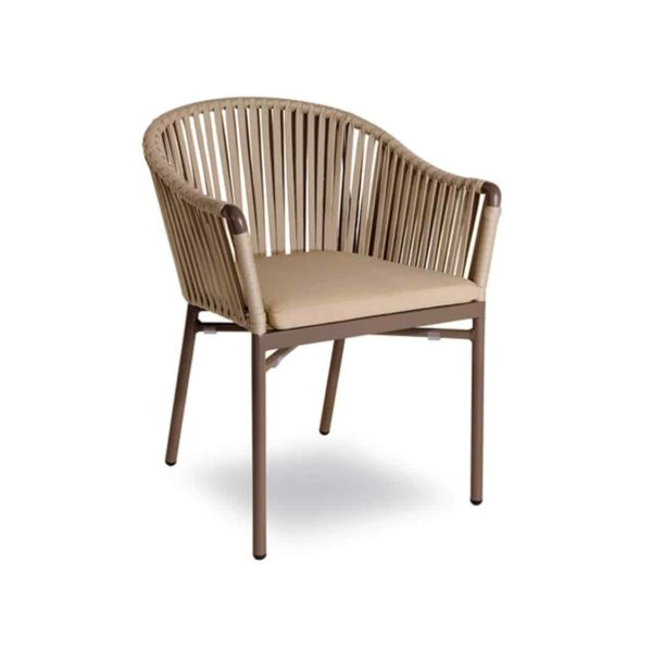 Karina roped back outdoor chairs available from DeFrae Contract Furniture Beige