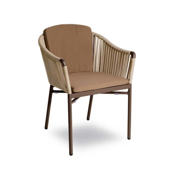Karina roped back outdoor chairs available from DeFrae Contract Furniture Beige with cushion