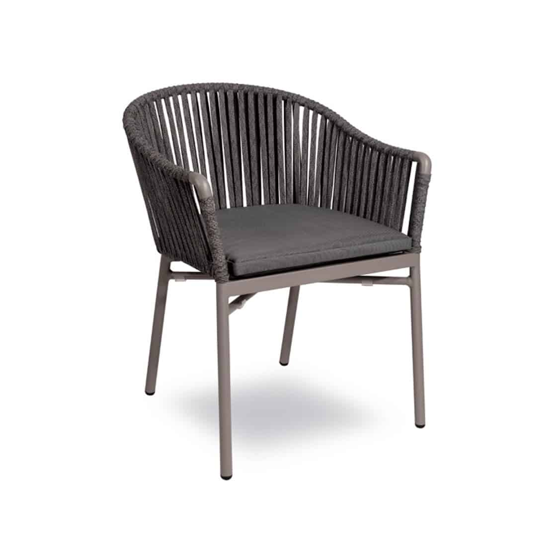 Karina roped back outdoor chairs available from DeFrae Contract Furniture Grey