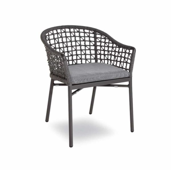 Karina net roped back outdoor chairs available from DeFrae Contract Furniture