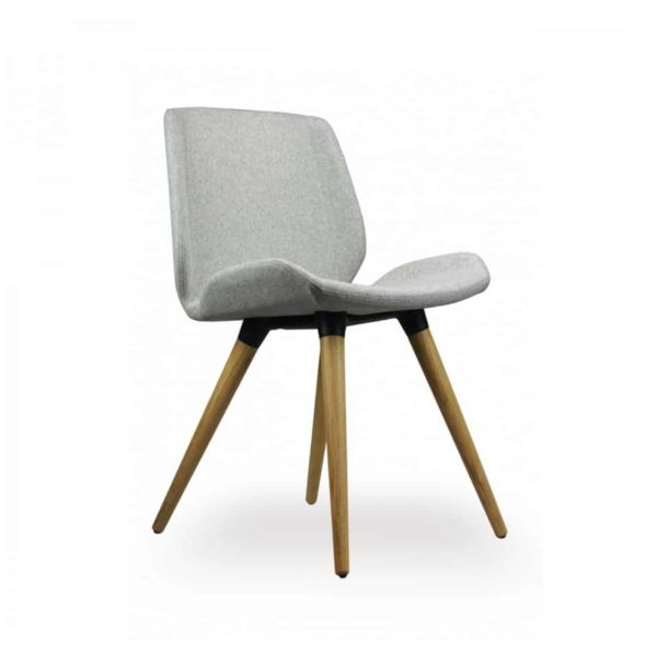Keel side chair with wooden frame DeFrae Contract Furniture Grey