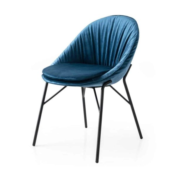 Lilly side chair Calligaris available from DeFrae Contract Furniture Black Frame Blue Velvet