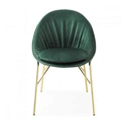Lilly side chair Calligaris available from DeFrae Contract Furniture Gold Frame Green