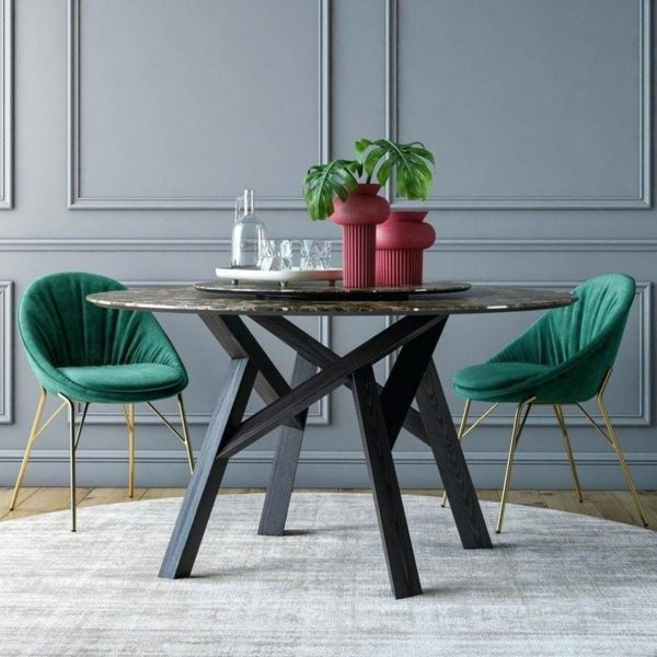 Lilly side chair Calligaris available from DeFrae Contract Furniture Gold Frame Green In Situ