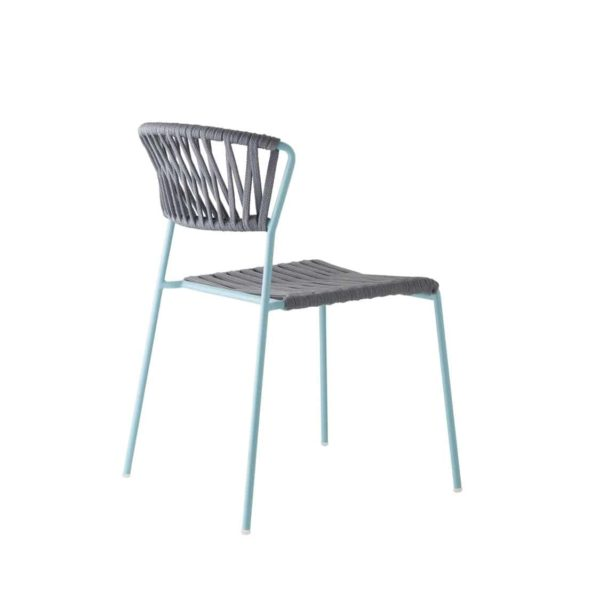 Lisa Club Side Chiar Outside Scab Design at DeFrae Contract Furniture Grey and Blue Back