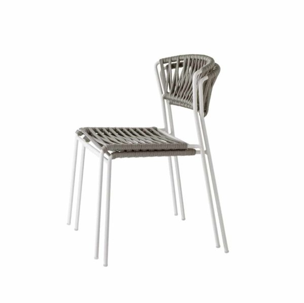 Lisa Club Side Chiar Outside Scab Design at DeFrae Contract Furniture Taupe and white back stackable
