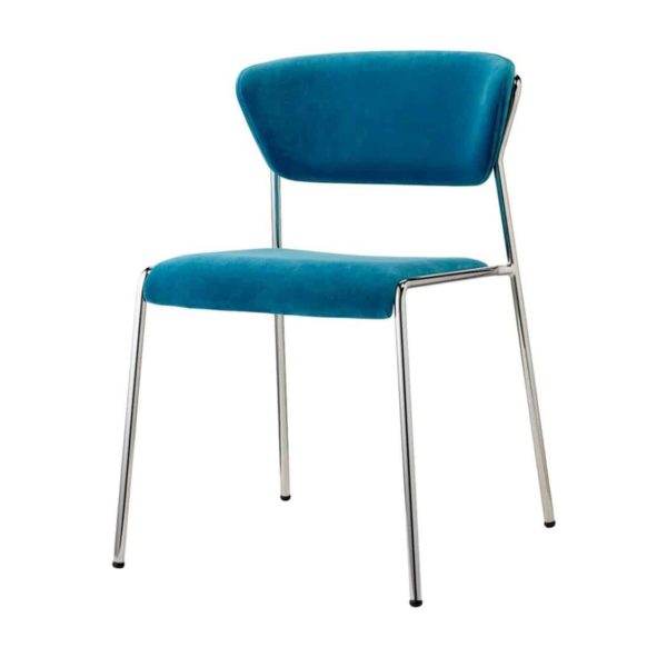 Lisa Side Chair By Scab Design Available From DeFrae Contract Furniture Blue Velvet Chrome Metal Frame