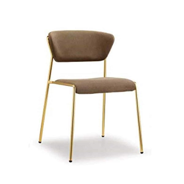 Lisa Side Chair By Scab Design Available From DeFrae Contract Furniture Brown Velvet Gold Metal