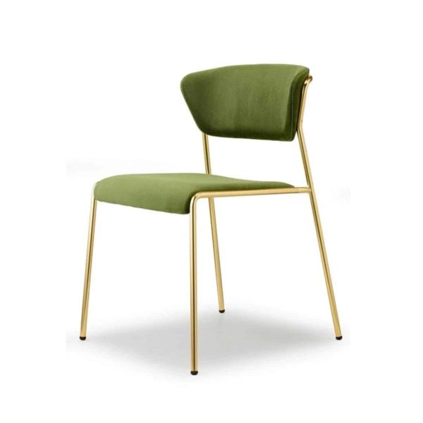 Lisa Side Chair By Scab Design Available From DeFrae Contract Furniture Green Velvet Gold Metal Frame