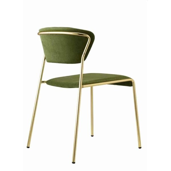 Lisa Side Chair By Scab Design Available From DeFrae Contract Furniture Green Velvet Gold Metal Frame Right