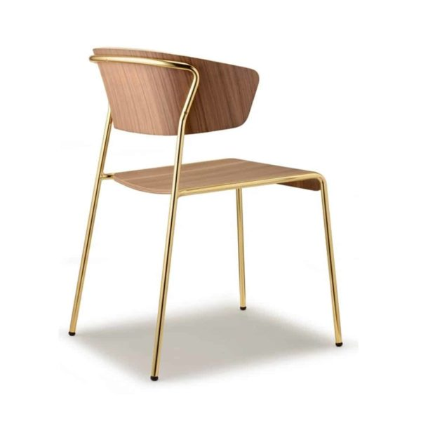 Lisa Side Chair By Scab Design Available From DeFrae Contract Furniture Wood Frame Gold Metal Frame