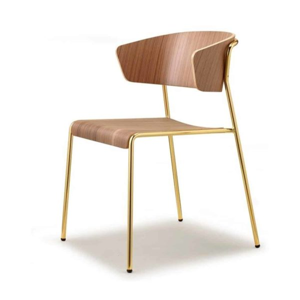 Lisa Side Chair By Scab Design Available From DeFrae Contract Furniture Wood Frame Gold Metal Frame Left