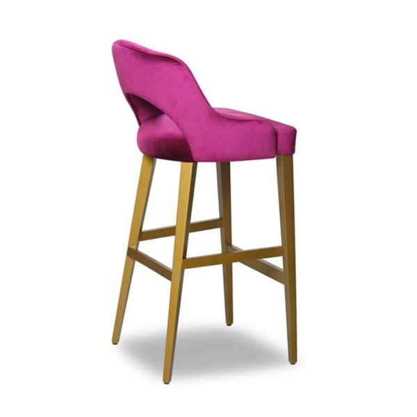 London Oval Wood Bar Stool Available From DeFrae Contract Furniture Pink Velvet