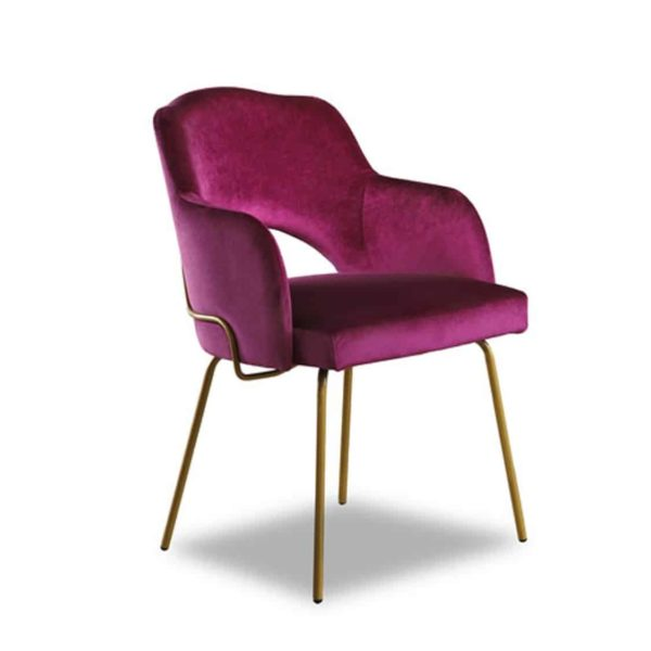 London Portobello Tube Armchair Available From DeFrae Contract Furniture Pink Velvet