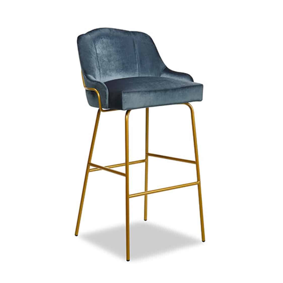 London Tube Bar Stool Available From DeFrae Contract Furniture Blue Velvet