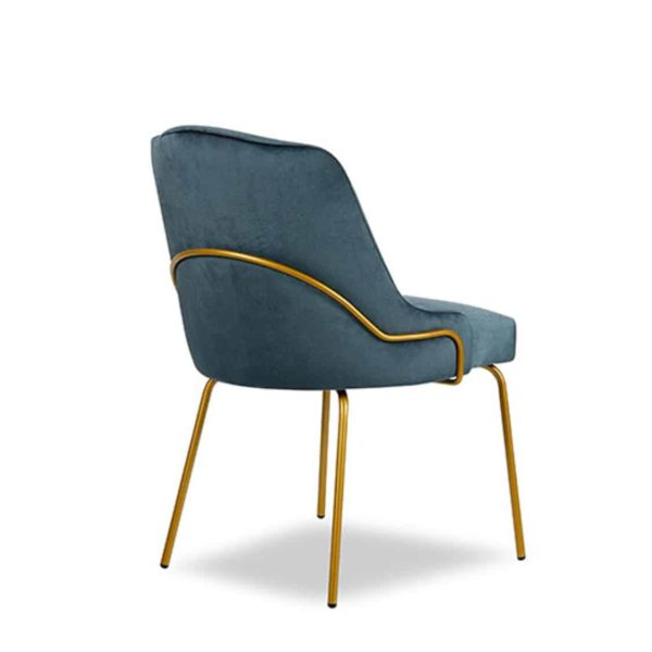 London Tube Side Chair Available From DeFrae Contract Furniture Blue Velvet Back