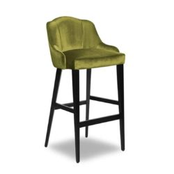 London Wood Bar Stool Available From DeFrae Contract Furniture Green Velvet