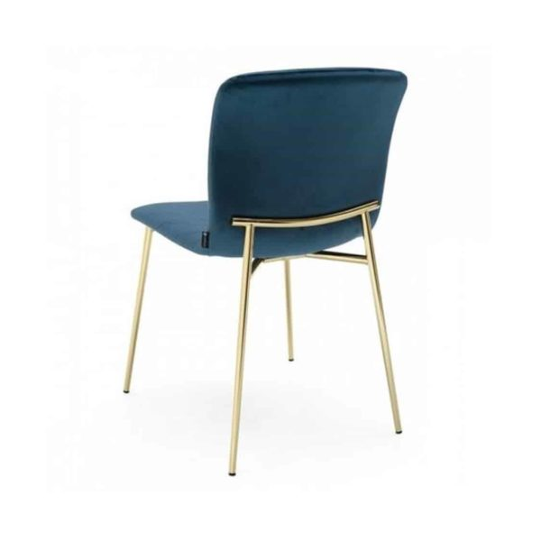 Love side chair Calligaris available from DeFrae Contract Furniture Gold Frame Blue Velvet Back View