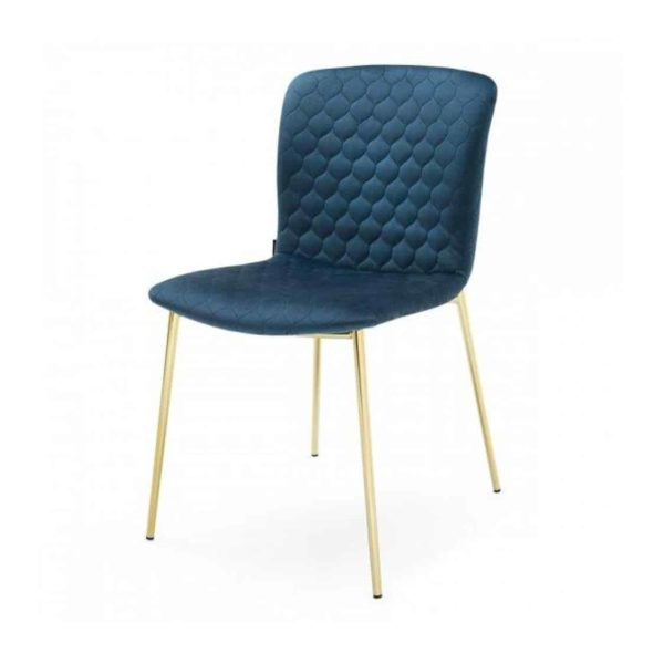 Love side chair Calligaris available from DeFrae Contract Furniture Gold Frame Blue Velvet Quilted Back
