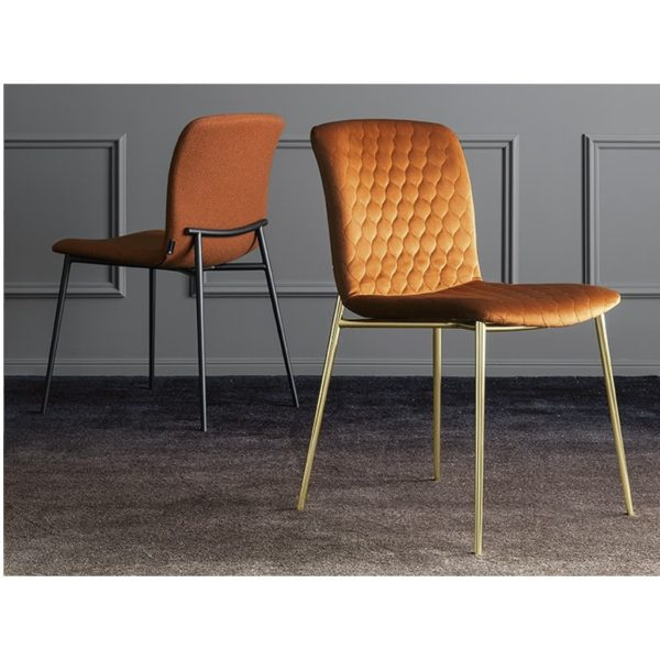 Love side chair Calligaris available from DeFrae Contract Furniture Gold Frame Rust Velvet Quilted Back