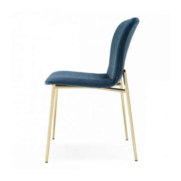Love side chair Calligaris available from DeFrae Contract Furniture Gold Frame Blue Velvet Side View