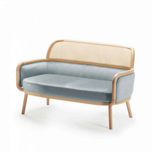 Luc 2 seater sofa at DeFrae Contract furniture with cane back blue