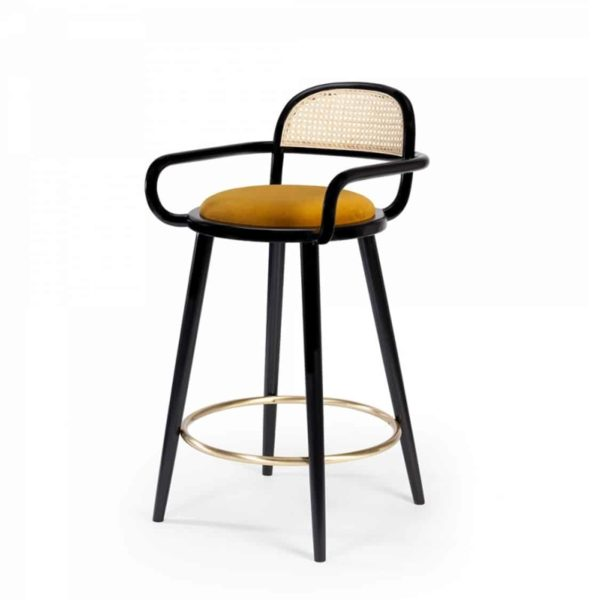 Luc Bar stools at DeFrae Contract furniture cane back and upholstered seat