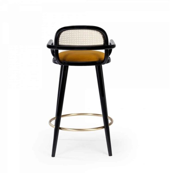 Luc Bar stools at DeFrae Contract furniture cane back and upholstered seat back view