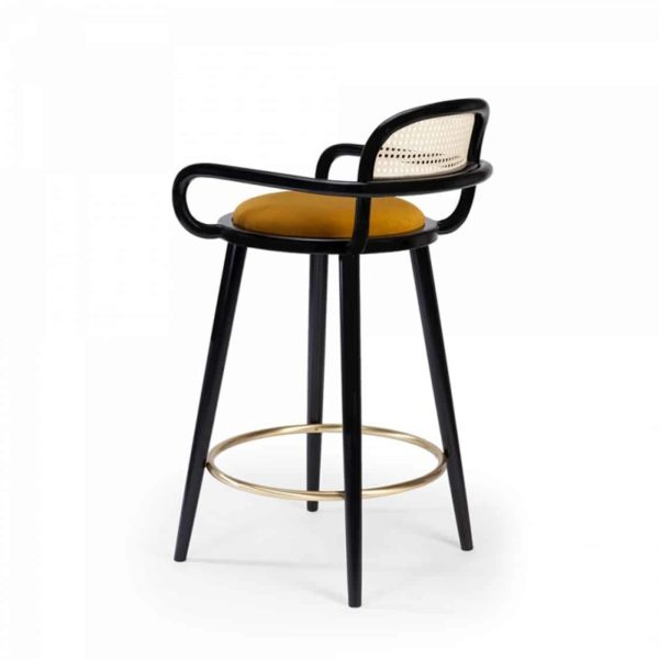 Luc Bar stools at DeFrae Contract furniture cane back and upholstered seat side view