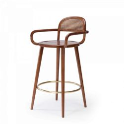 Luc Bar stools at DeFrae Contract furniture cane back and wood frame finish