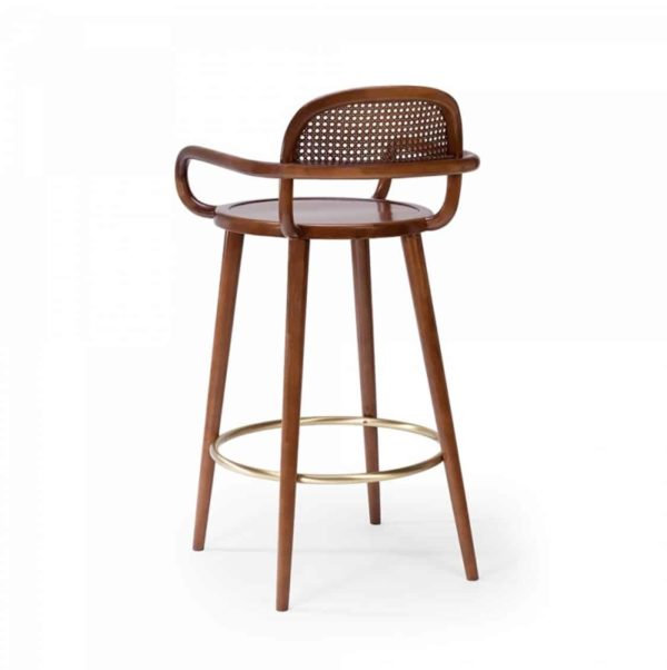 Luc Bar stools at DeFrae Contract furniture cane back and wood frame finish back view