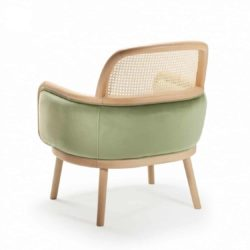 Luc lounge armchair at DeFrae Contract furniture with cane back view