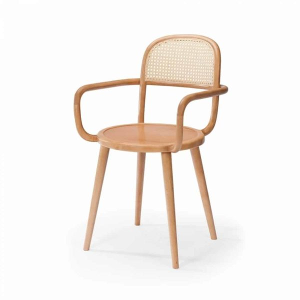 Luc side chair at DeFrae Contract furniture cane back and natural wood frame finish