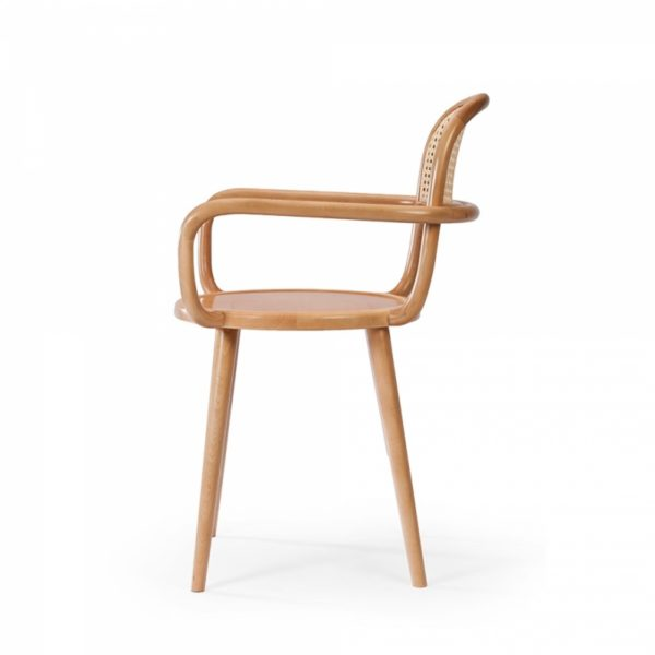 Luc side chair at DeFrae Contract furniture cane back and natural wood frame finish side on view