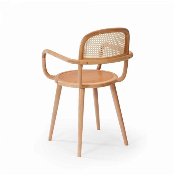 Luc side chair at DeFrae Contract furniture cane back and natural wood frame finish side view