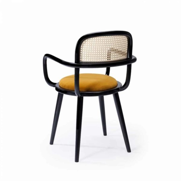 Luc side chair at DeFrae Contract furniture cane back and upholstered seat back view
