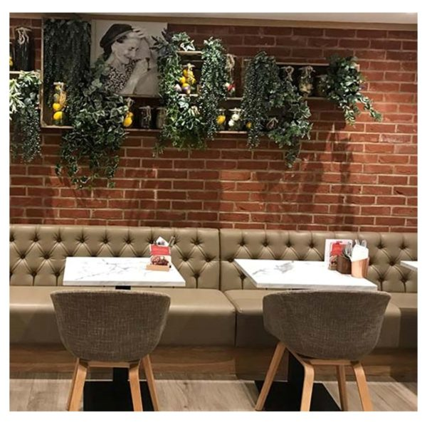Button Back Banquette Seating at Primo Caffe by DeFrae Contract Furniture
