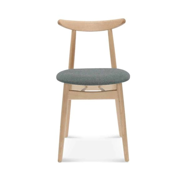Michelle curved back wood restaurant chair with upholstered seat DeFrae contract furniture Fameg Finn