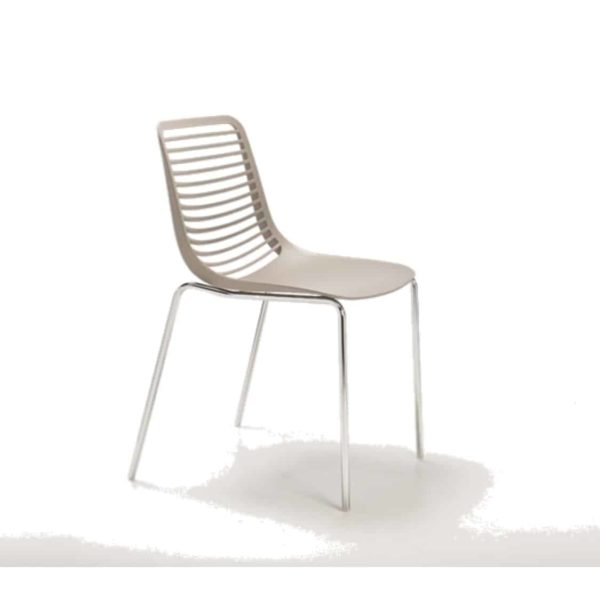Mini side chair Casprini Stackable outside side chair DeFrae Contract Furniture metal frame Taupe