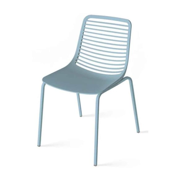 Mini side chair Casprini Stackable outside side chair DeFrae Contract Furniture metal frame blue
