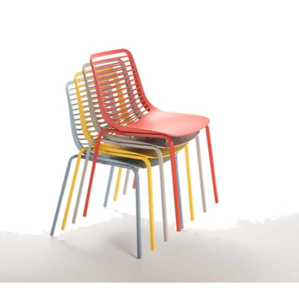 Mini side chair Casprini Stackable outside side chair DeFrae Contract Furniture metal frame stackable colours