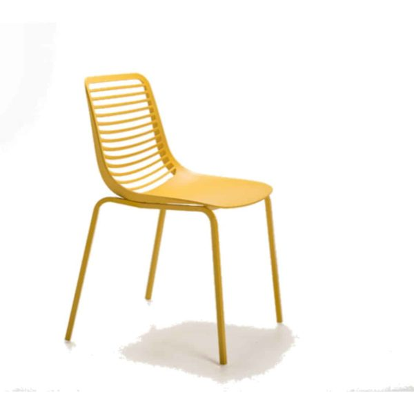 Mini side chair Casprini Stackable outside side chair DeFrae Contract Furniture metal frame yellow