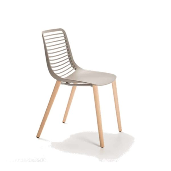 Mini side chair Casprini Stackable side chair DeFrae Contract Furniture wooden legs grey